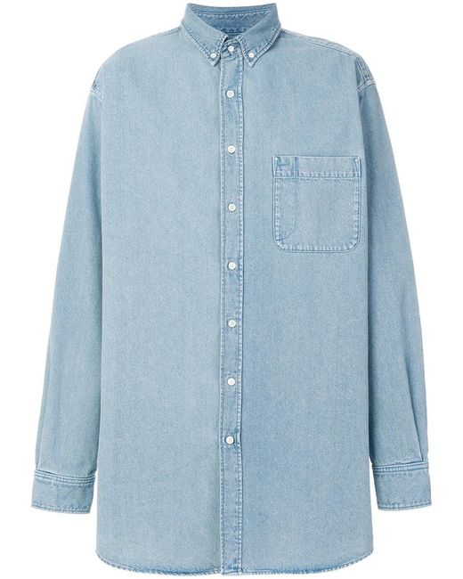 Balenciaga - Blue Bal Big Denim Shirt for Men - Lyst