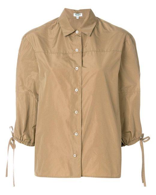 KENZO - Brown Cutaway Collar Shirt - Lyst