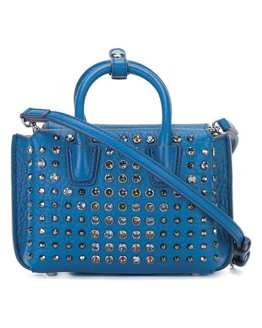 MCM | Blue Studded Crossbody Bag | Lyst