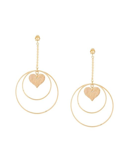 Petite Grand - Metallic Heart/dove Circle Earrings - Lyst