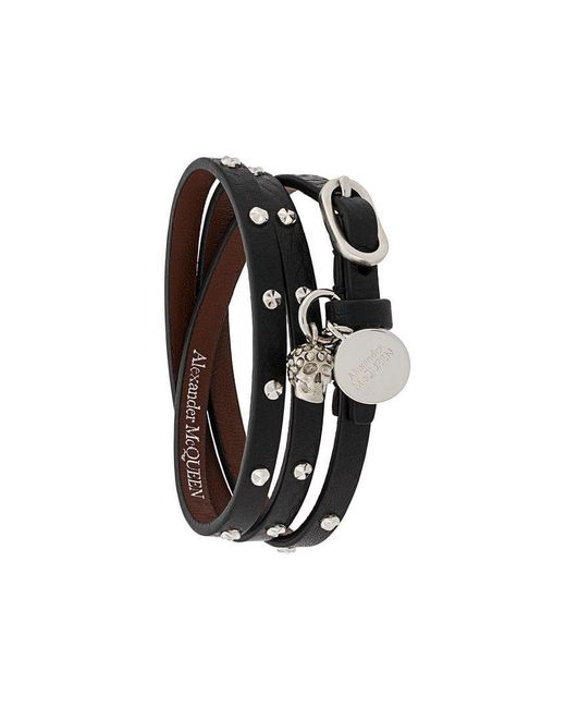 Alexander McQueen - Black Studded Multi-wrap Bracelet - Lyst
