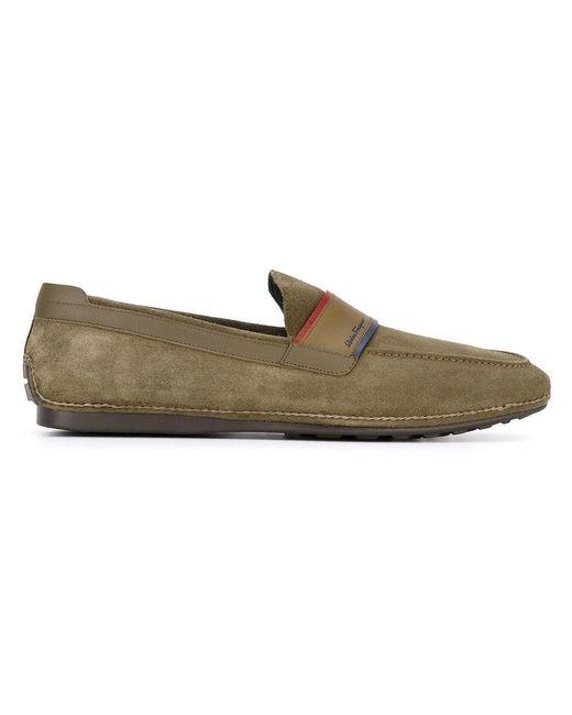 Ferragamo - Green Contrast Trim Loafers for Men - Lyst