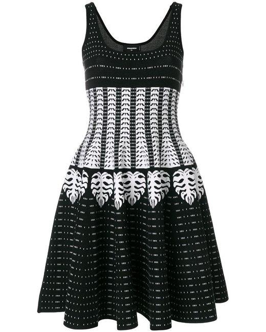 DSquared² - Black Patterned Intarsia Dress - Lyst