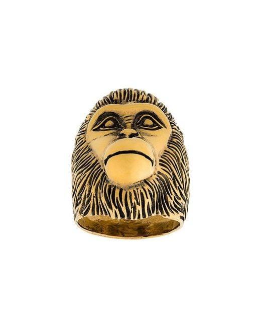 Gucci - Metallic Monkey Head Ring - Lyst