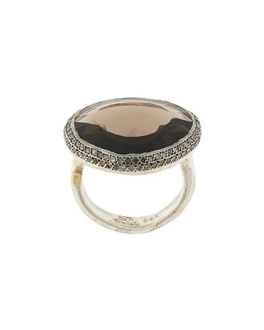 Rosa Maria - Metallic Smokey Quartz And Diamond Ring - Lyst
