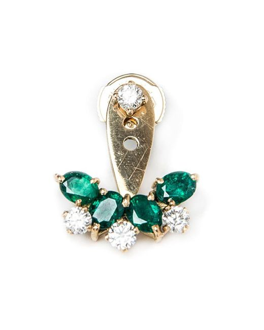 Yvonne Léon | Green Emerald And Diamond Lobe Earring | Lyst