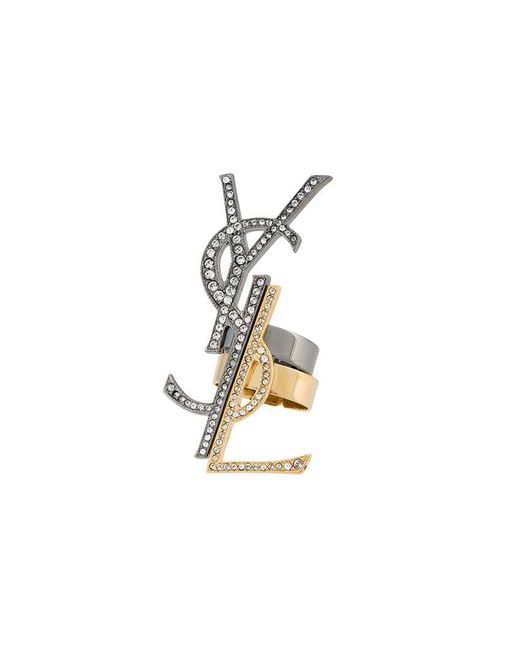 Saint Laurent   Metallic Monogramme Destructure Ring Set   Lyst