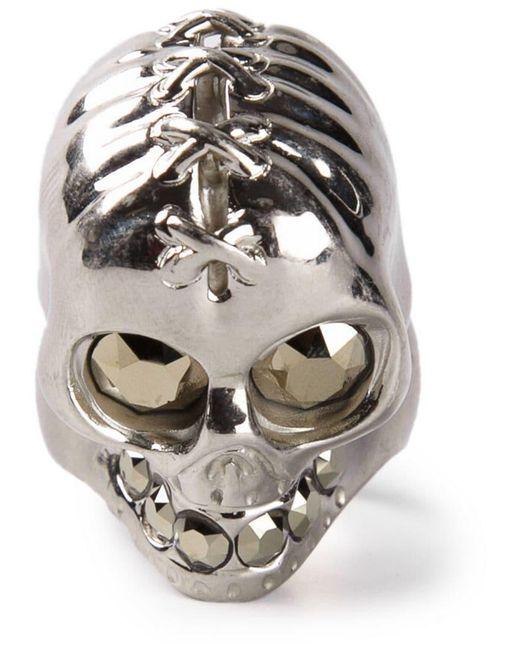 Alexander McQueen - Metallic Punk Skull Ring for Men - Lyst