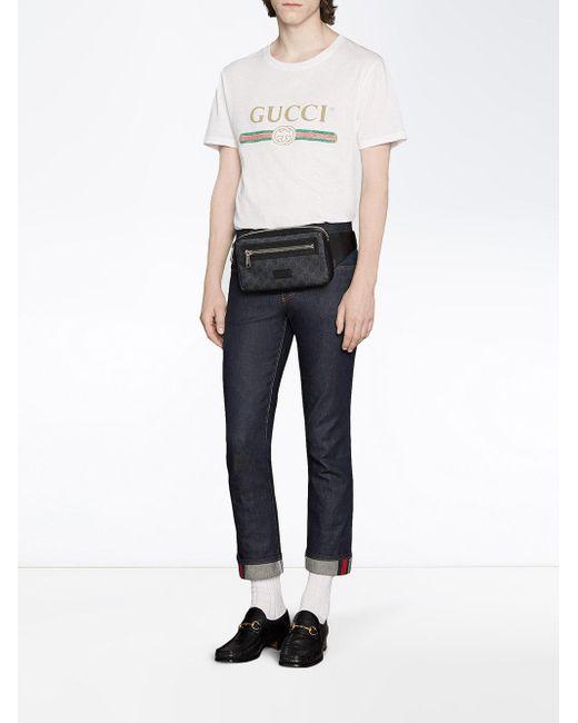 f3146c61d3 ... Gucci - Black Sac ceinture en toile suprême GG souple for Men - Lyst ...