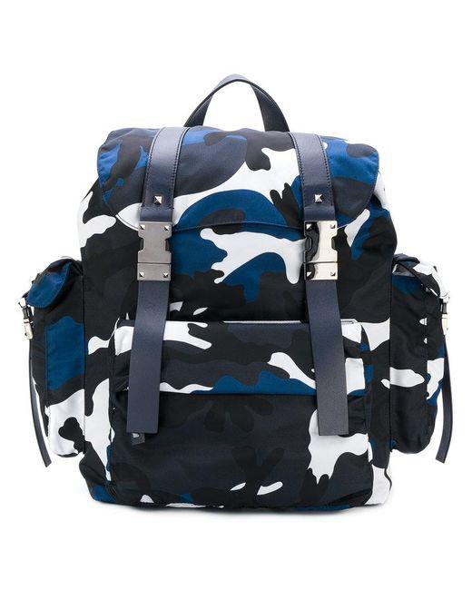 Valentino   Blue Garavani Rockstud Camouflage Backpack for Men   Lyst