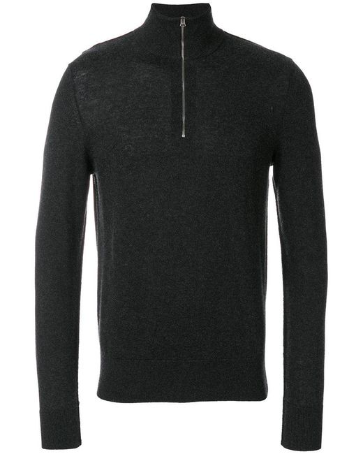 30a4db47d049 Lyst - Burberry Zip-neck Cashmere Cotton Sweater in Gray for Men
