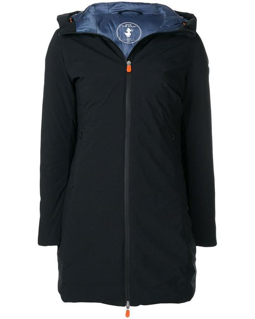 Save The Duck | Black Mid-length Hooded Coat | Lyst