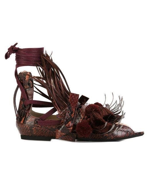 3583b1c669ab1 N°21 - Brown Tassel Detail Flat Sandals - Lyst ...
