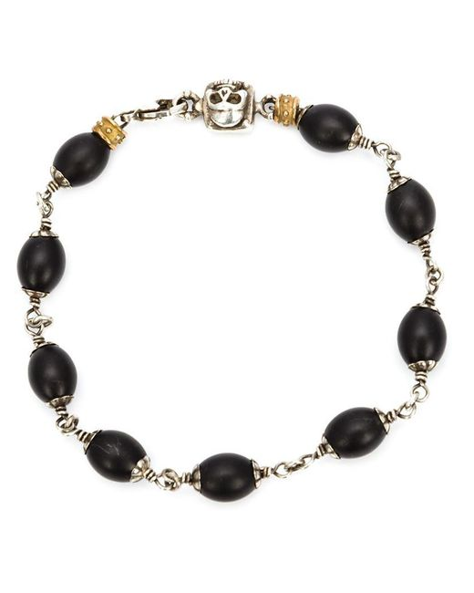 Roman Paul - Black Skull Wrapped Bracelet for Men - Lyst