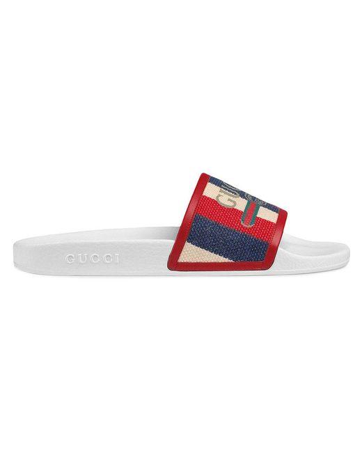 57649960e7ff21 Gucci - White Logo Sylvie Slide Sandal for Men - Lyst ...
