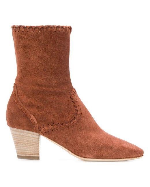 Alberta Ferretti - Brown Stitching Detail Boots - Lyst