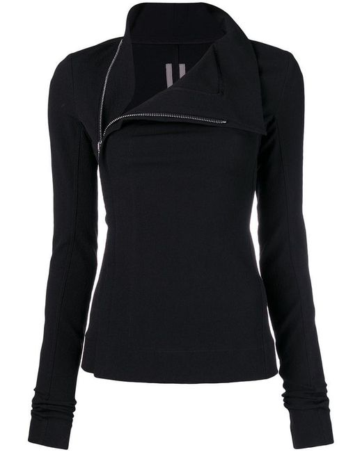 Rick Owens - Black Fitted High-neck Jacket - Lyst