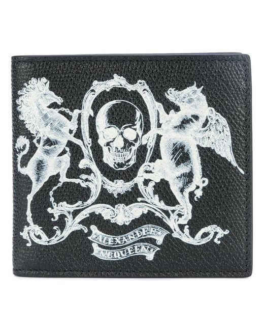 Alexander McQueen - Black Skull Coat Of Arms Wallet for Men - Lyst