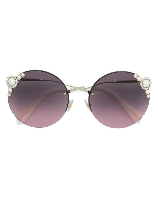 Miu Miu - Pink Pearls Collection Round Shape Sunglasses - Lyst