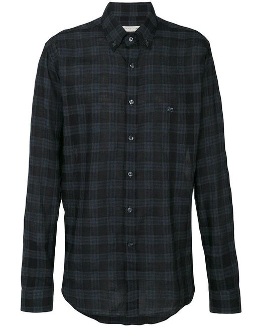 Etro | Black Checked Button-down Shirt for Men | Lyst