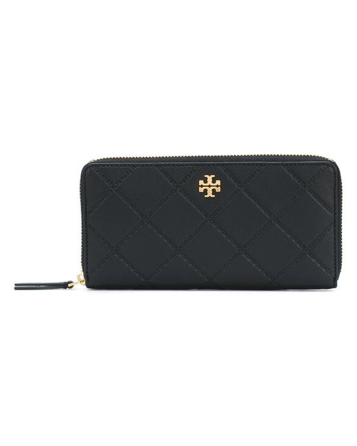 Tory Burch | Black Georgia Zip Continent Wallet | Lyst