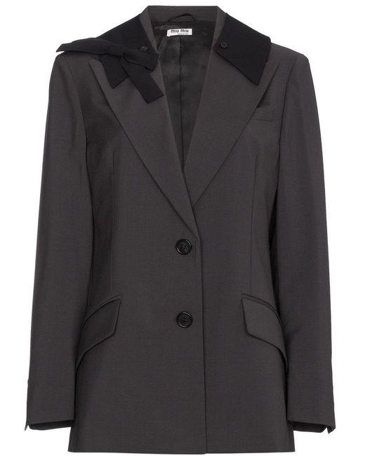 05166fdf3b56 Miu Miu Bow Embellished Wool Mohair-blend Blazer in Gray - Save 60 ...