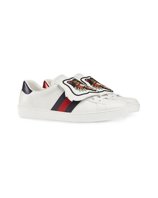 459f817ef5e ... Gucci - White Ace Sneaker With Removable Embroideries for Men - Lyst ...