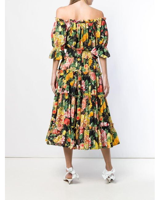 0b1d95af ... Dolce & Gabbana - Yellow Floral Print Flared Dress - Lyst