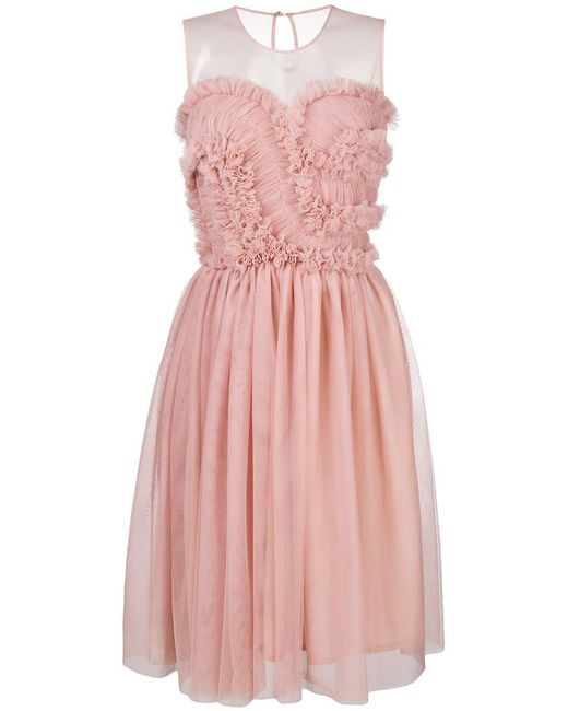 P.A.R.O.S.H. - Pink Frill Tulle Midi Dress - Lyst