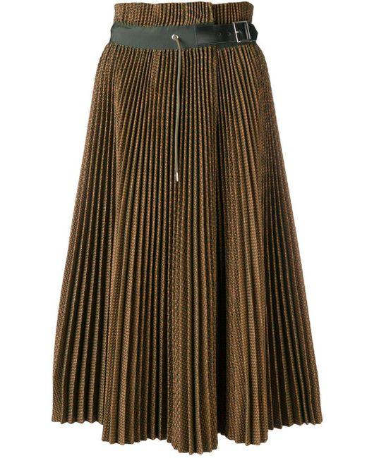 Jupe plissée à design tissé Sacai en coloris Green
