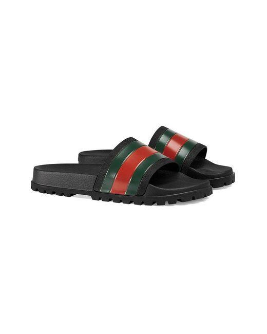 Gucci - Black Web Slide Sandal for Men - Lyst