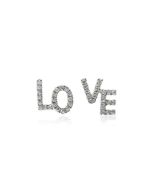 Rosa De La Cruz - Metallic White Gold And Diamond Love Studs - Lyst