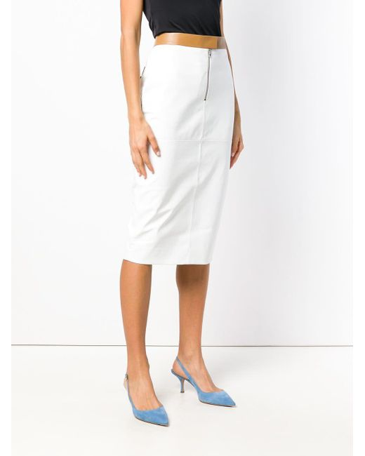 31ef702ff0 ... Victoria Beckham - White Contrast Pencil Skirt - Lyst ...