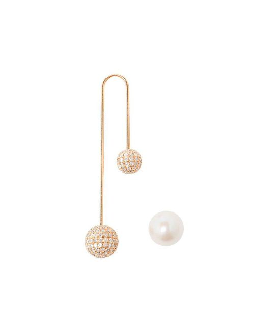 Asherali Knopfer - Pink 18k Gold, Diamond And Pearl Bar Earring - Lyst