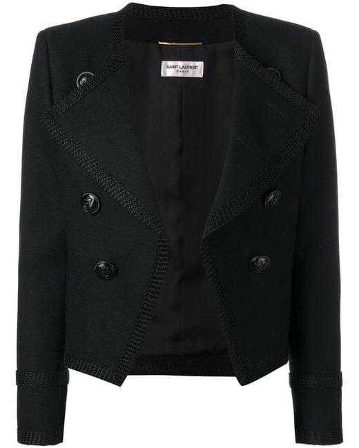 Saint Laurent | Black Spencer Cropped Jacket | Lyst