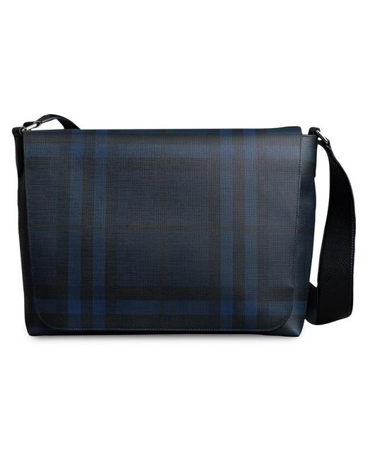 Burberry - Blue Large London Check Messenger Bag for Men - Lyst