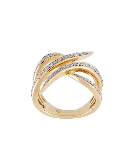 Eshvi - Metallic Diamond Encrusted 18kt Gold Ring - Lyst