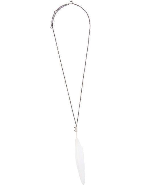 Ann Demeulemeester   Metallic Feather Pendant Necklace   Lyst
