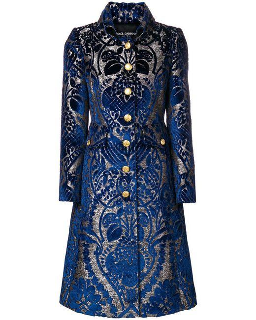 Dolce & Gabbana - Blue Abrigo acampanado y estampado - Lyst