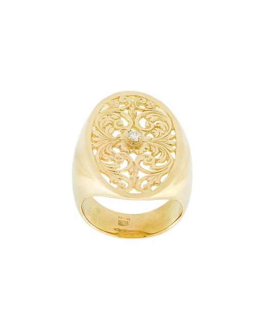 Wouters & Hendrix - Metallic Filigree Diamond Signet Ring - Lyst