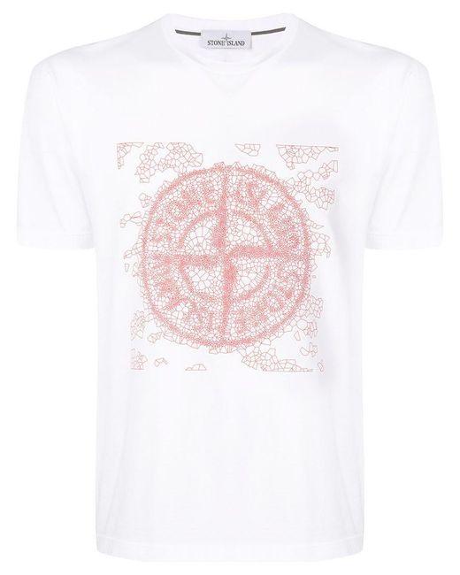 Stone Island - White T-shirt à logo imprimé for Men - Lyst