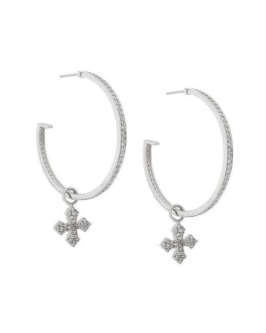 King Baby Studio - Metallic Large Cross Hoop Earrings - Lyst