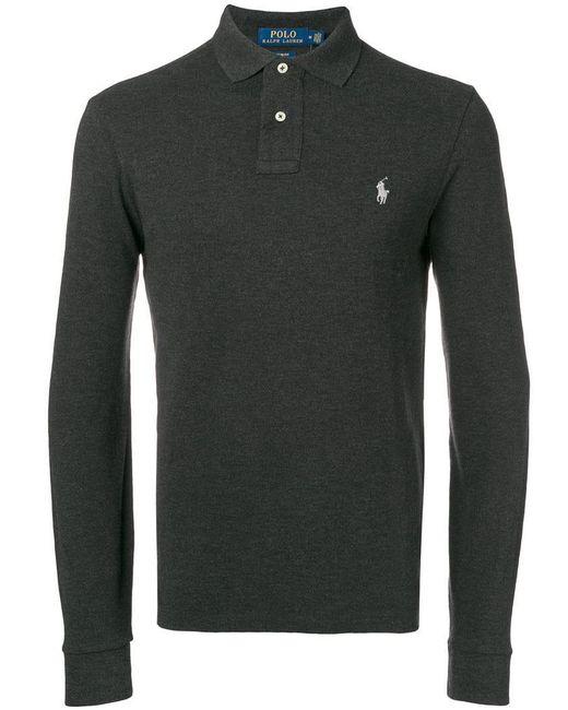 Polo Ralph Lauren - Gray Logo Embroidered Polo Shirt for Men - Lyst