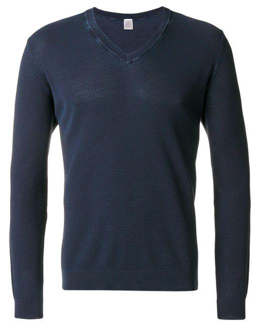 Eleventy Blue V-neck Pullover for men