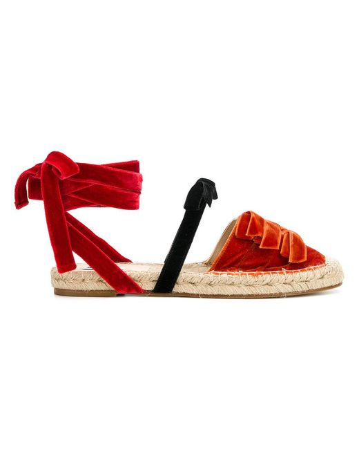 Attico - Red Ankle-wrap Espadrilles - Lyst