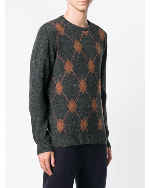 806cf4944 ... Eleventy - Black Cashmere Argyle Pattern Sweater for Men - Lyst ...