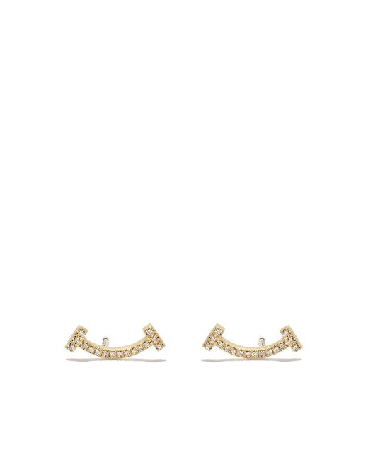 Tiffany & Co - Metallic 18kt Yellow Gold Tiffany T Smile Diamond Earrings - Lyst