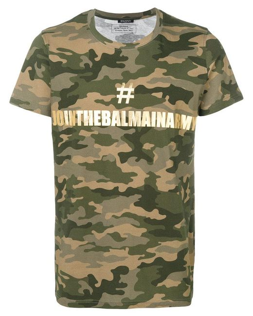 Balmain - Green Camouflage Print Logo T-shirt for Men - Lyst