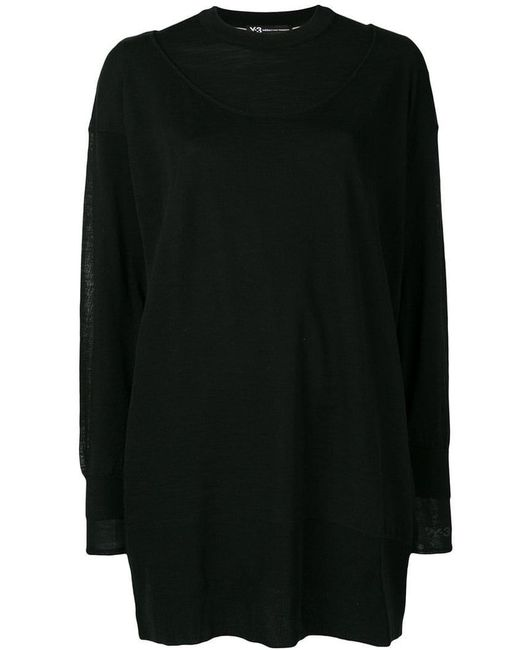 Y-3 - Black Layered Longline Sweater - Lyst