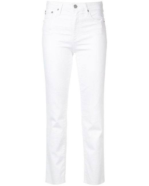 AG Jeans - White Isabelle High-rise Straight Crop Jeans - Lyst